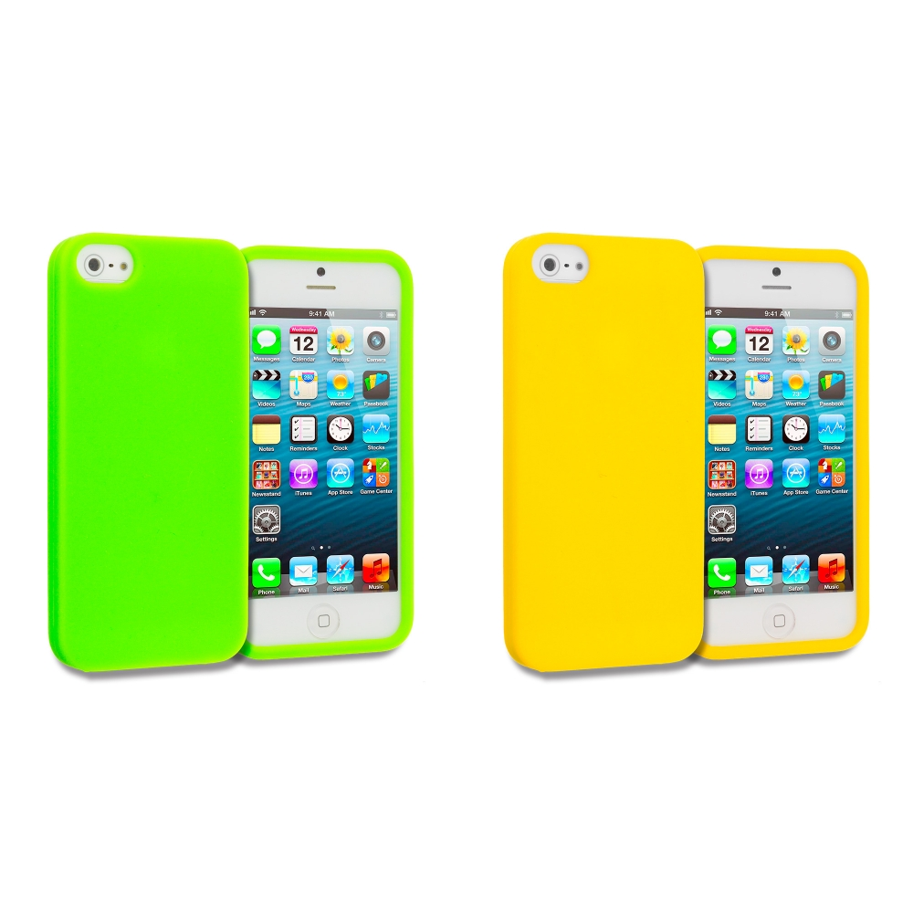 Apple iPhone 5/5S/SE Combo Pack : Neon Green Silicone Soft Skin Case Cover