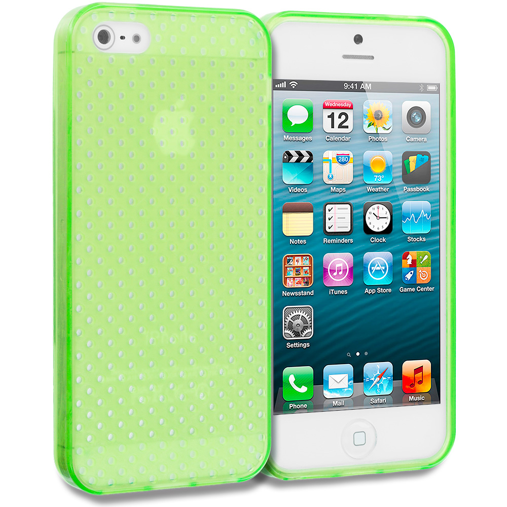 Apple iPhone 5/5S/SE 2 in 1 Combo Bundle Pack - Clear Mesh TPU Rubber Skin Case Cover : Color Neon Green Mesh