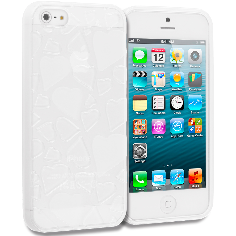 Apple iPhone 5/5S/SE Combo Pack : Clear Hearts TPU Rubber Skin Case Cover : Color Clear Hearts