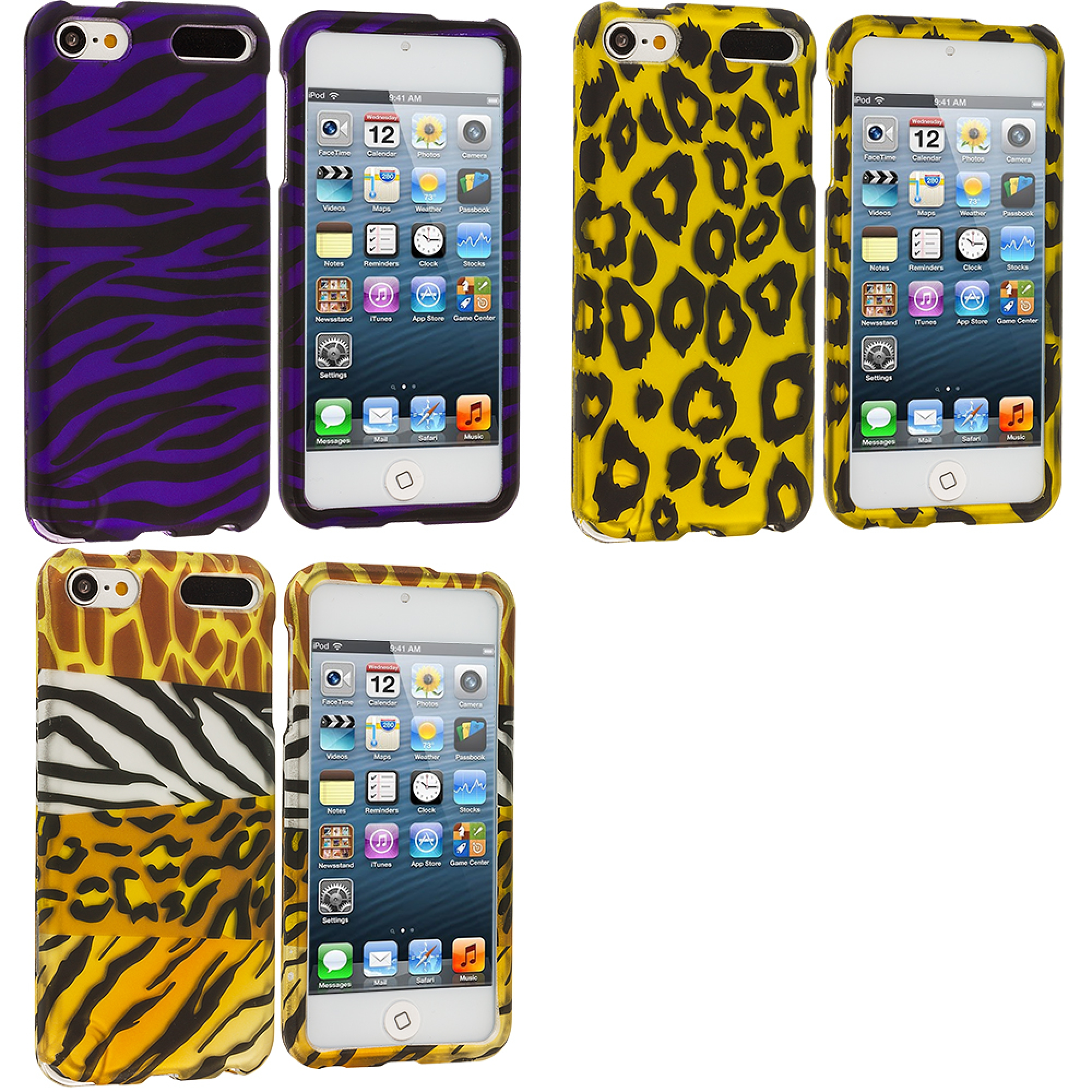 Apple iPod Touch 5th 6th Generation 3 in 1 Combo Bundle Pack - Leopard / Purple Zebra Hard Rubberized Design Case Cover