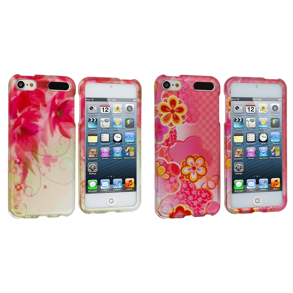 Apple iPod Touch 5th 6th Generation 2 in 1 Combo Bundle Pack - Pink Fairy Tale Hard Rubberized Design Case Cover