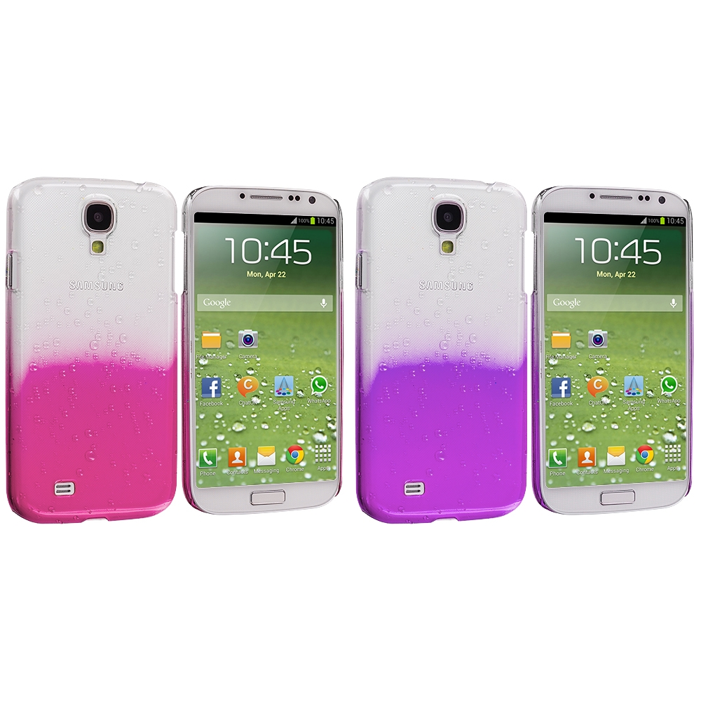 Samsung Galaxy S4 2 in 1 Combo Bundle Pack - Hot Pink Purple Crystal Raindrop Hard Case Cover