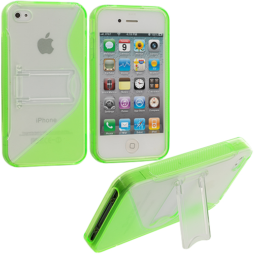 Apple iPhone 4 / 4S Neon Green TPU S-Line Case Cover with Stand