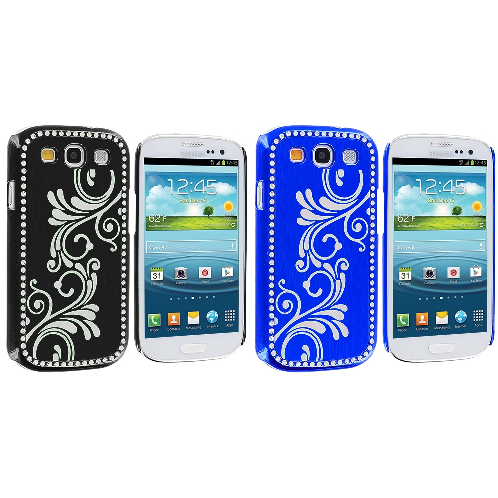 Samsung Galaxy S3 2 in 1 Combo Bundle Pack - Black Blue Diamond Luxury Flower Case Cover