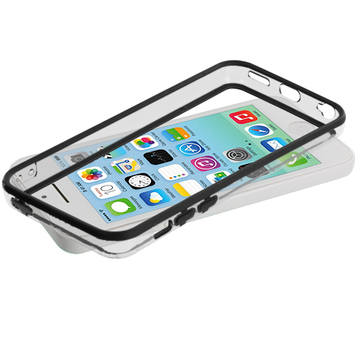 Apple iPhone 5C Black / Clear TPU Bumper with Metal Buttons