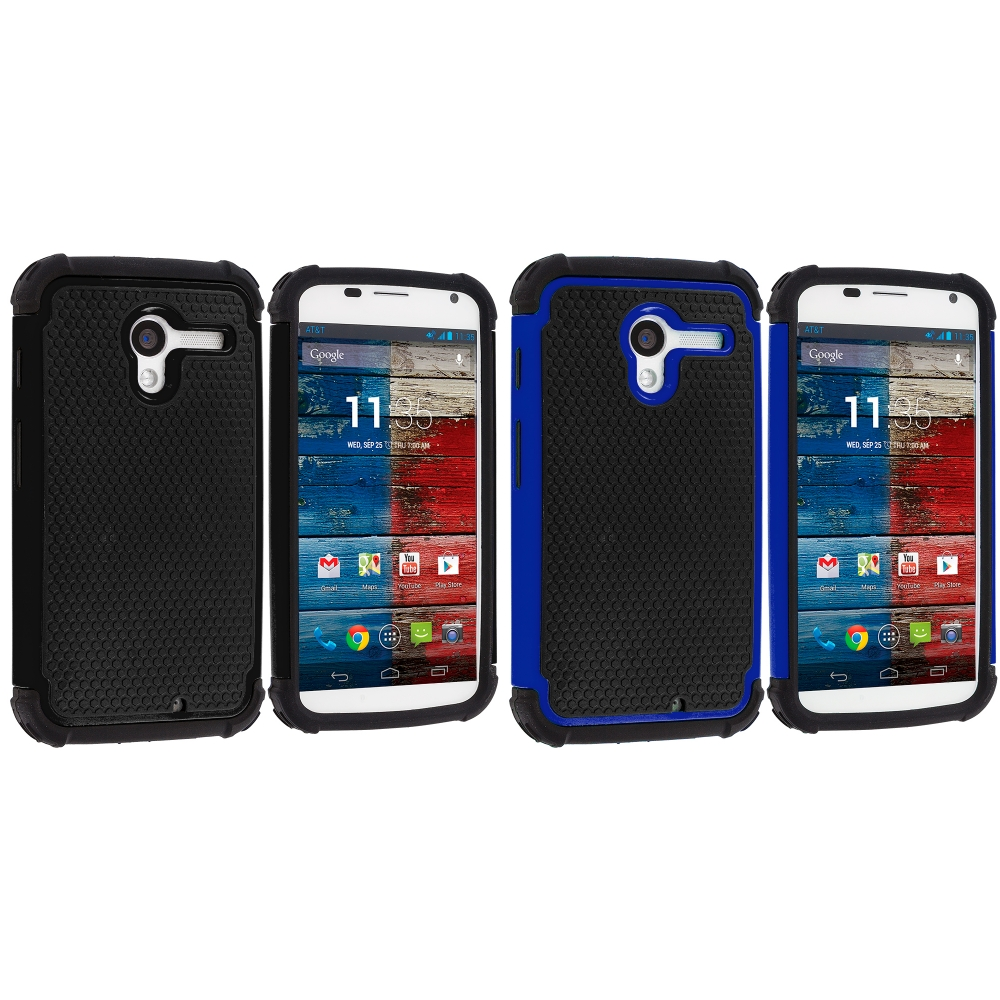 Motorola Moto X 2 in 1 Combo Bundle Pack - Black / Blue Hybrid Rugged Hard/Soft Case Cover