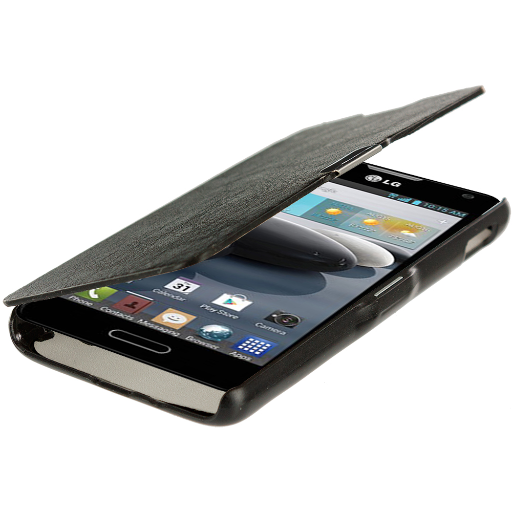 LG Optimus F6 D500 Black Magnetic Wallet Case Cover Pouch