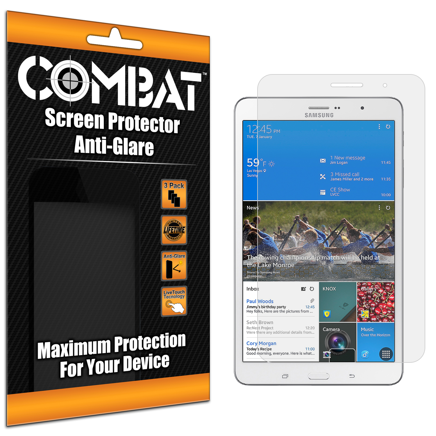 Samsung Galaxy Tab PRO 8.4 Combat 3 Pack Anti-Glare Matte Screen Protector