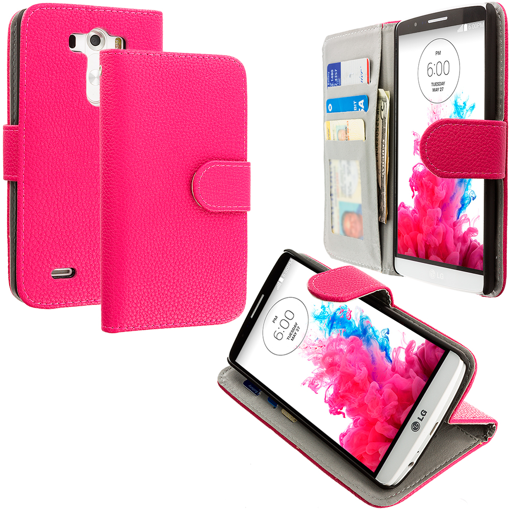 LG G3 Hot Pink Leather Wallet Pouch Case Cover with Slots