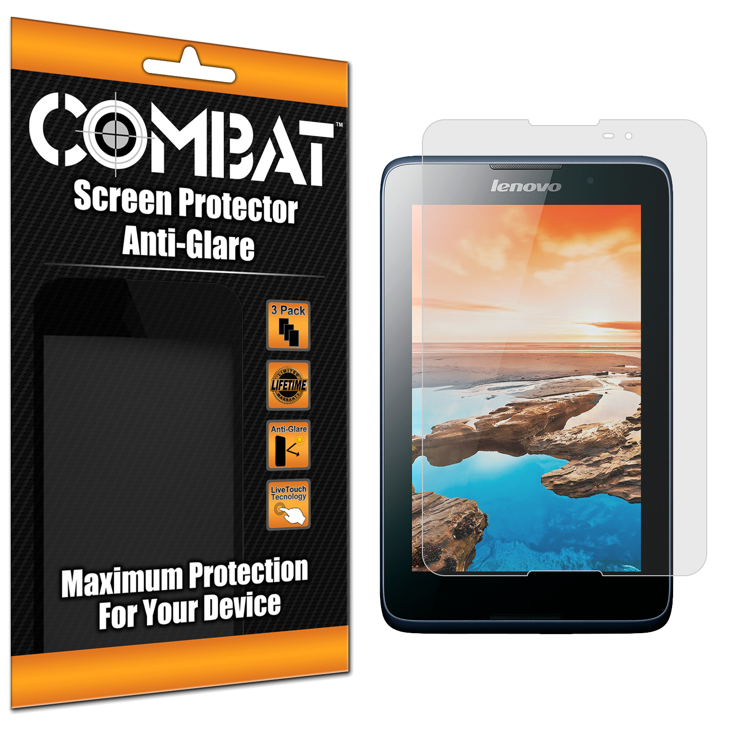 Lenovo Tab A8 Combat 3 Pack Anti-Glare Matte Screen Protector