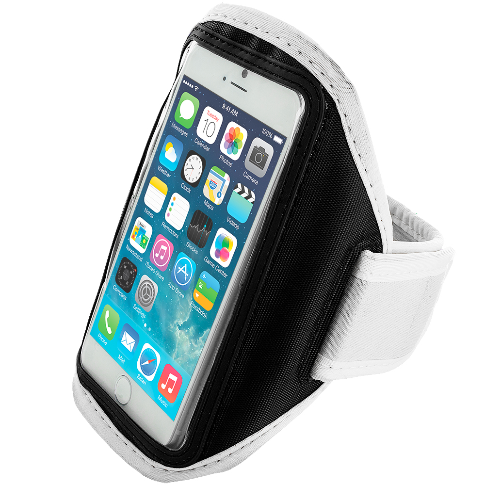 Apple iPhone 6 Plus 6S Plus (5.5) White Running Sports Gym Armband