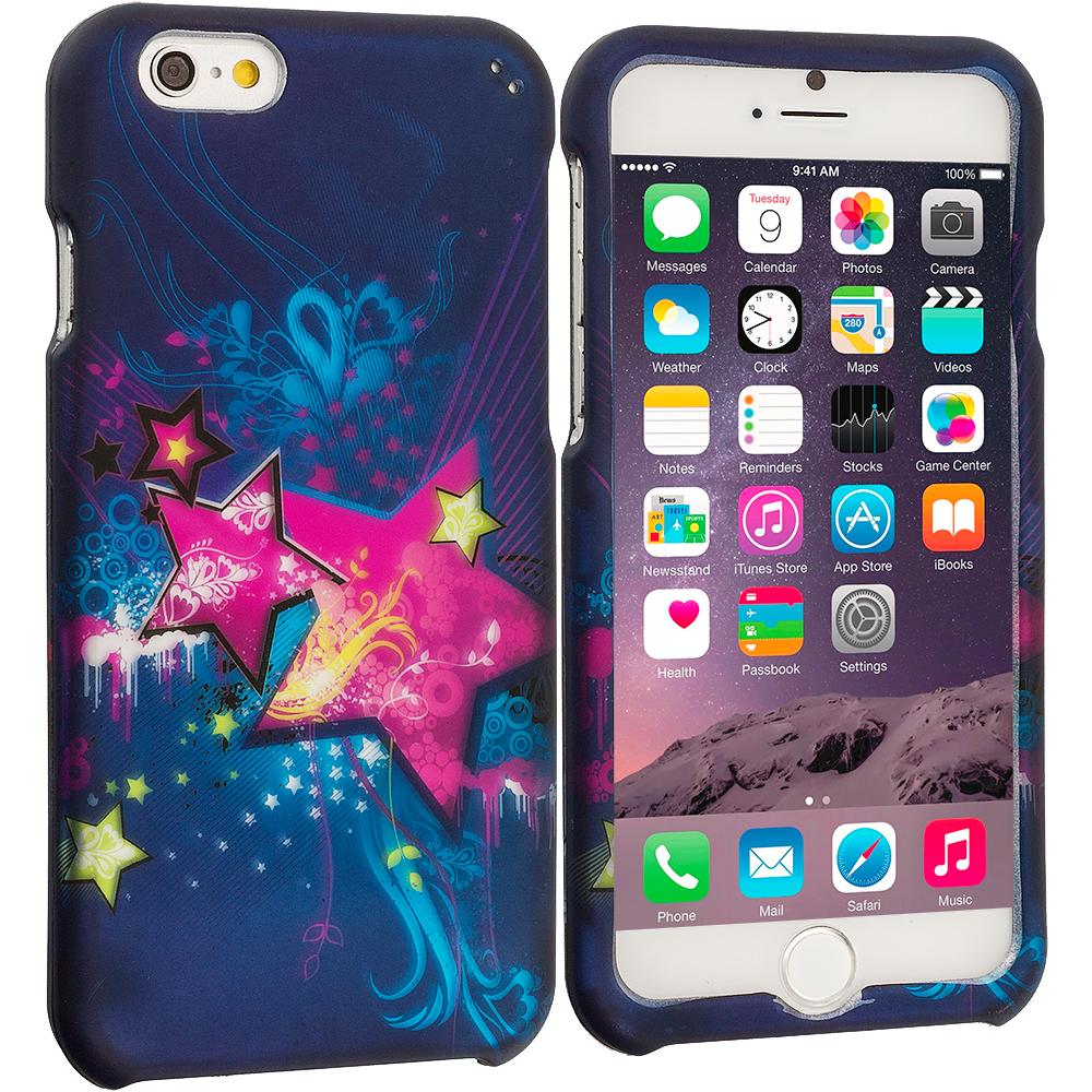 Apple iPhone 6 Plus 6S Plus (5.5) Pink Blue Star 2D Hard Rubberized Design Case Cover