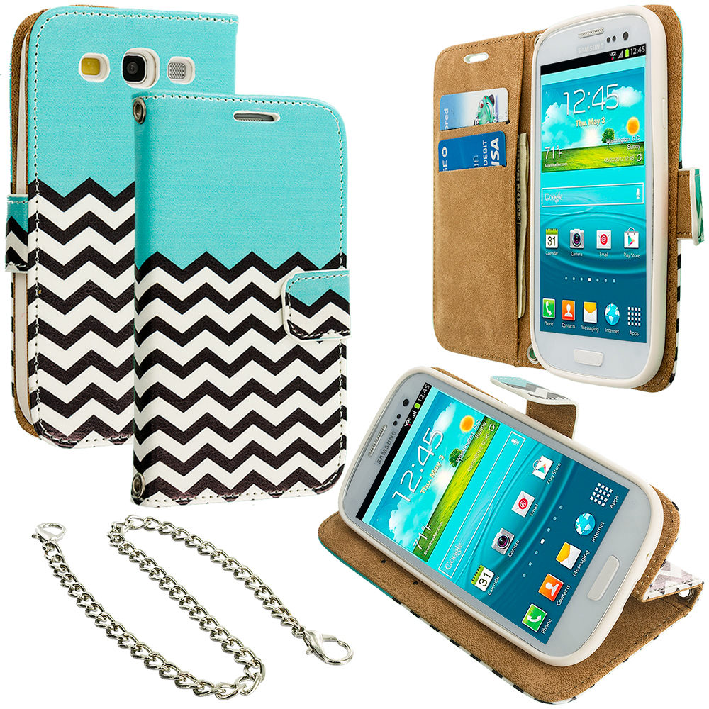Samsung Galaxy S3 Mint Green Zebra Leather Wallet Pouch Case Cover with Slots