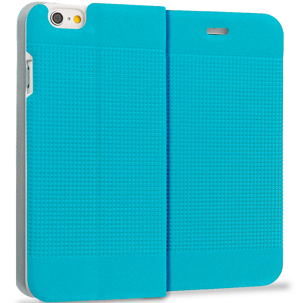 Apple iPhone 6 Plus 6S Plus (5.5) Teal Slim Wallet Flip Design Case Cover