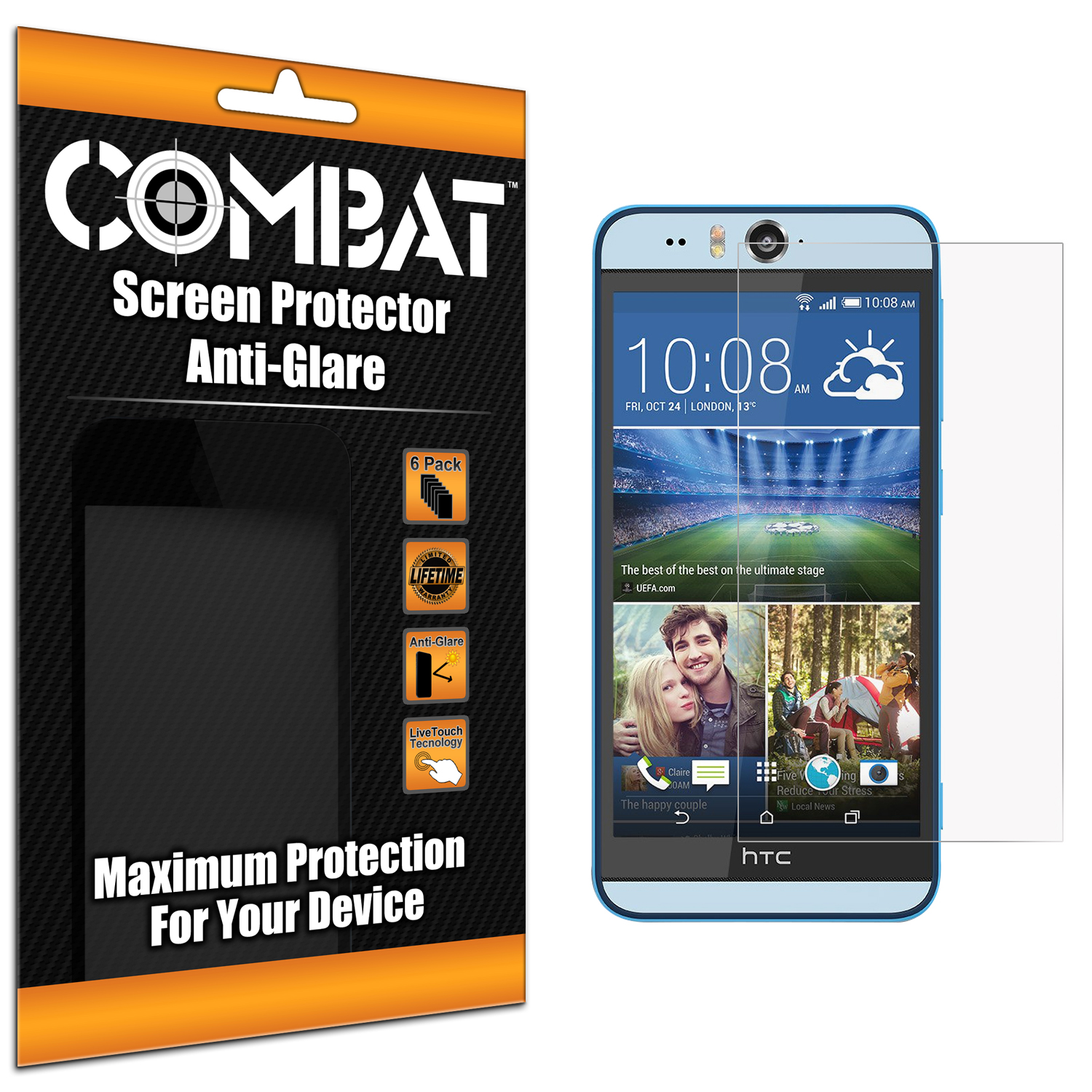 HTC Desire EYE Anti Glare Combat 6 Pack Anti-Glare Matte Screen Protector