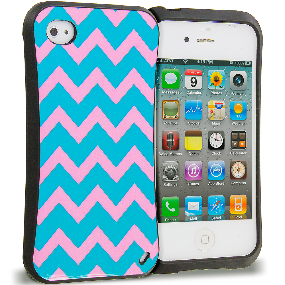 Apple iPhone 4 / 4S Pink Wave Hybrid TPU Hard Soft Shockproof Drop Proof Case Cover