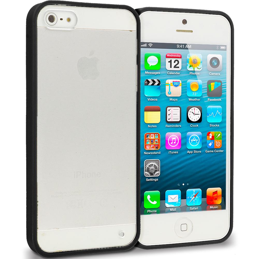 Apple iPhone 5/5S/SE Black TPU Plastic Hybrid Case Cover
