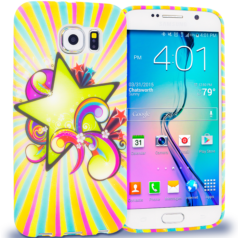Samsung Galaxy S6 Combo Pack : SuperStar TPU Design Soft Rubber Case Cover : Color SuperStar