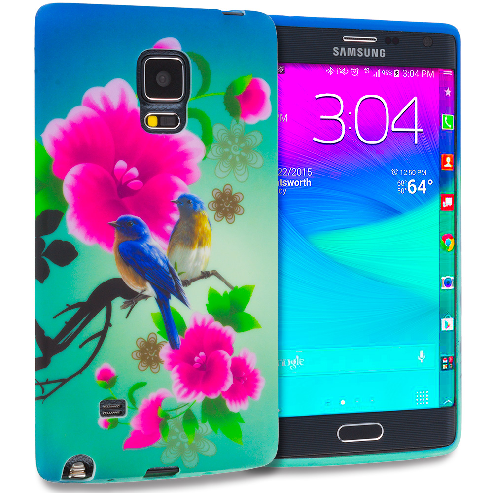 Samsung Galaxy Note Edge Blue Bird Pink Flower TPU Design Soft Rubber Case Cover