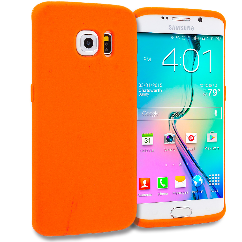 Samsung Galaxy S6 Edge 4 in 1 Combo Bundle Pack - Silicone Soft Skin Rubber Case Cover : Color Orange