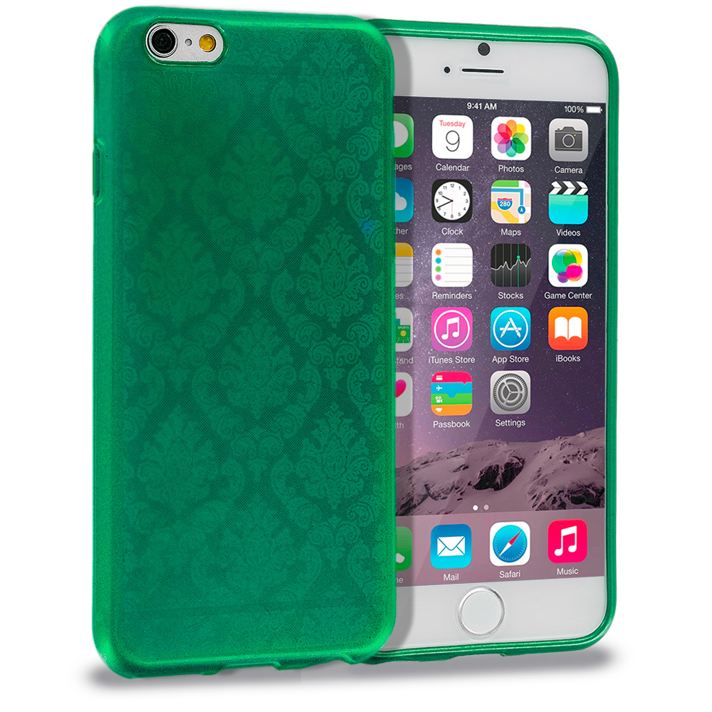 Apple iPhone 6 6S (4.7) Green TPU Damask Designer Luxury Rubber Skin Case Cover