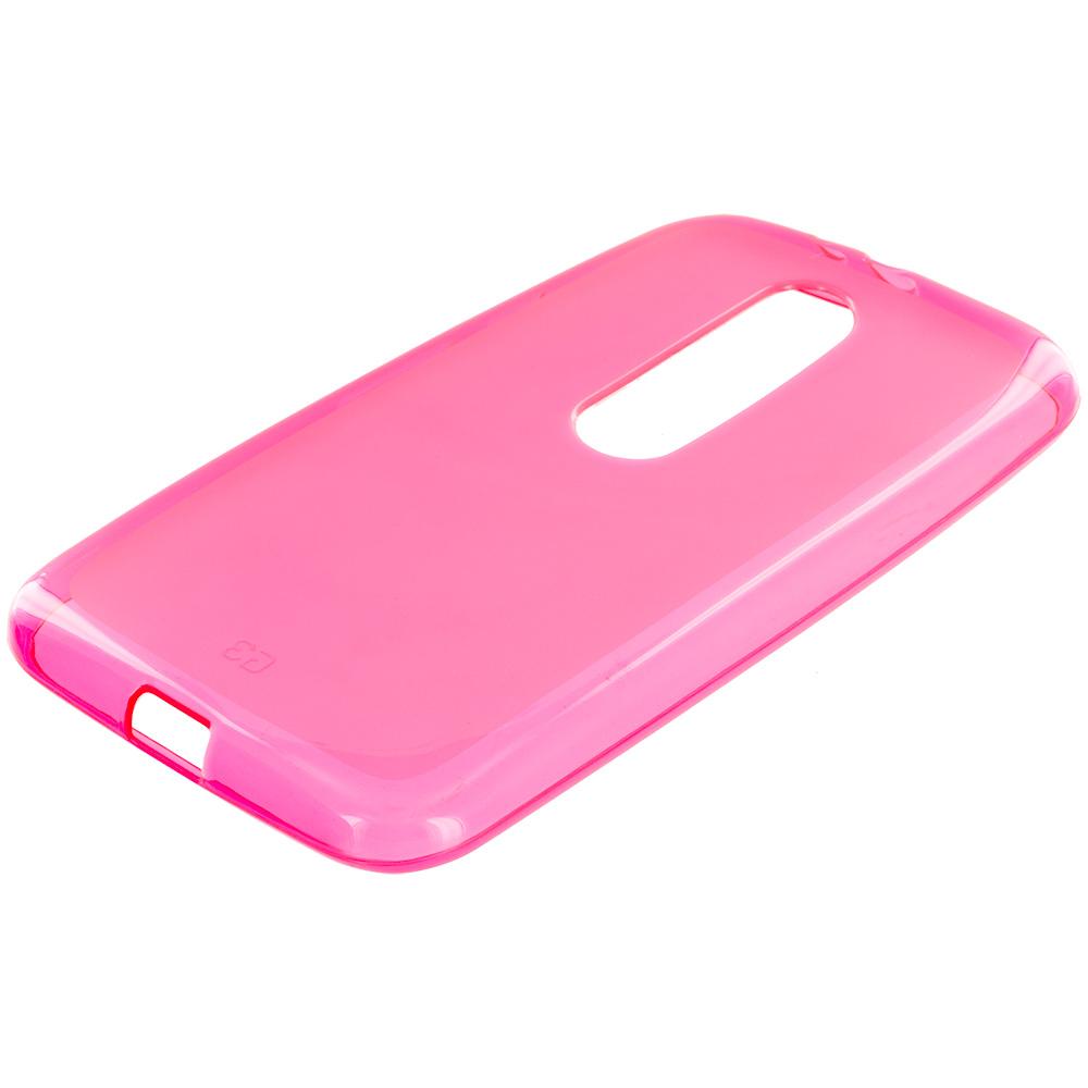 Motorola Moto G 3rd Gen 2015 Hot Pink TPU Rubber Skin Case Cover