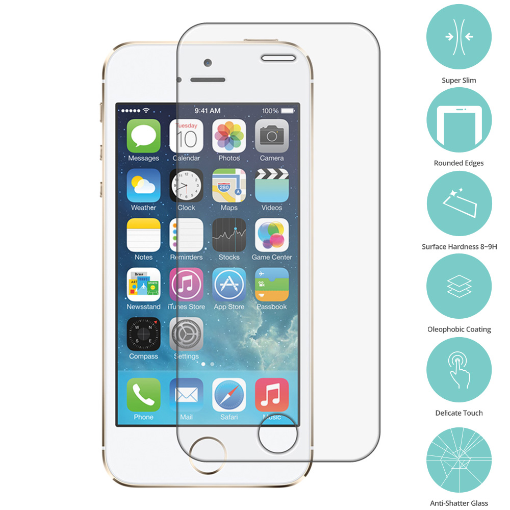 Apple iPhone 5/5S/SE Clear Tempered Glass Film Screen Protector Clear