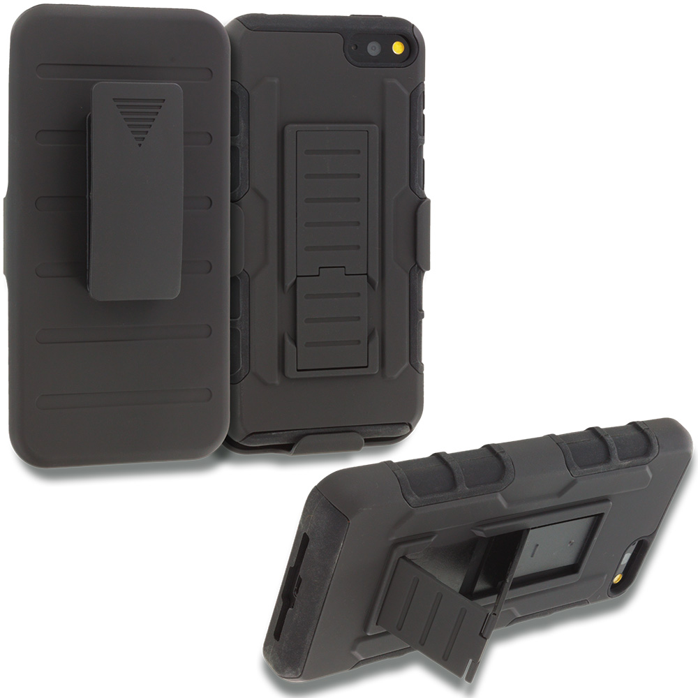 Amazon Fire Phone Black Hybrid Rugged Robot Armor Heavy Duty Case Cover with Belt Clip Holster