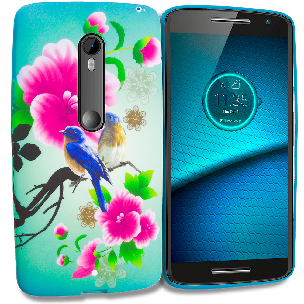 Motorola Droid Maxx 2 XT1565 Blue Bird Pink Flower TPU Design Soft Rubber Case Cover