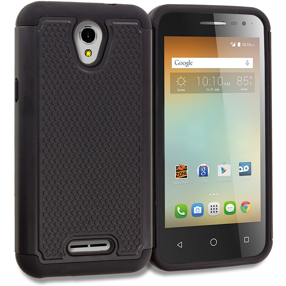 Alcatel One Touch Elevate Black Hybrid Rugged Grip Shockproof Case Cover
