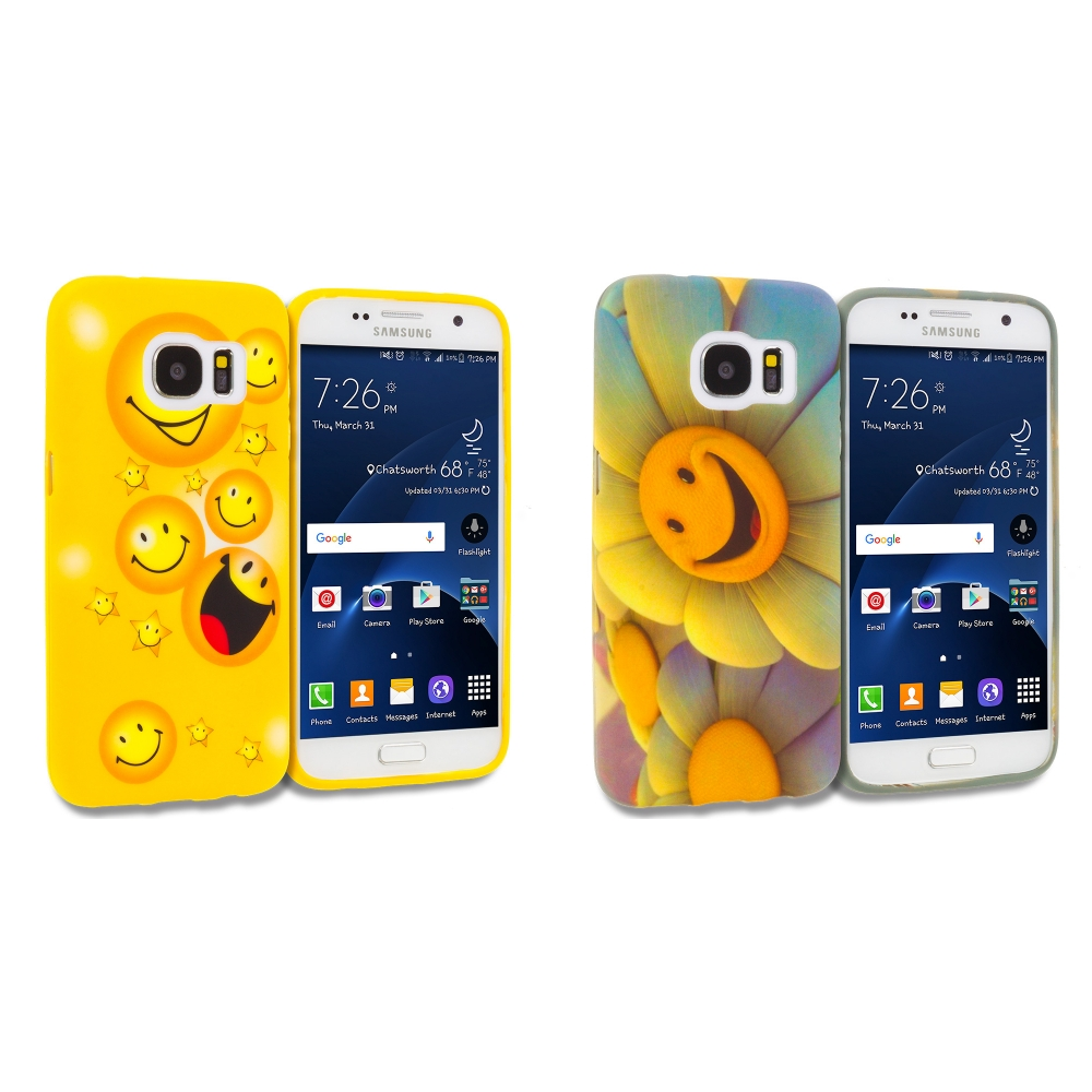 Samsung Galaxy S7 Combo Pack : Smiley Face TPU Design Soft Rubber Case Cover