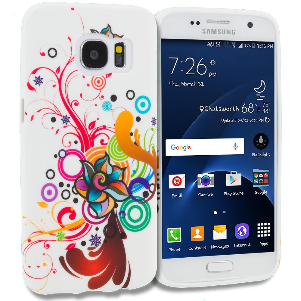 Samsung Galaxy S7 Edge Autumn Flower TPU Design Soft Rubber Case Cover