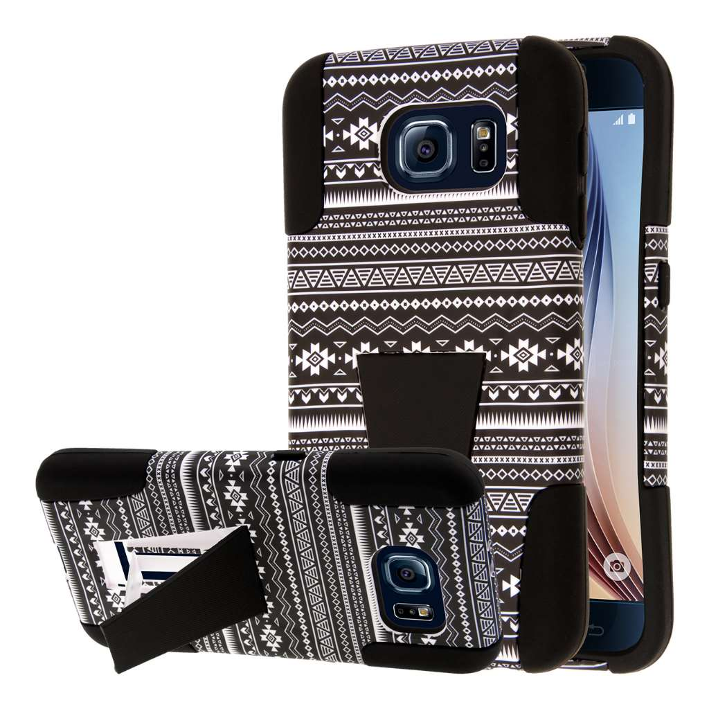 Samsung Galaxy S6 - Black Aztec MPERO IMPACT X - Kickstand Case Cover