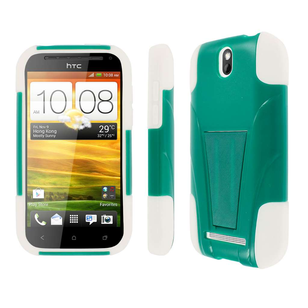 HTC One SV - Teal / White MPERO IMPACT X - Kickstand Case Cover