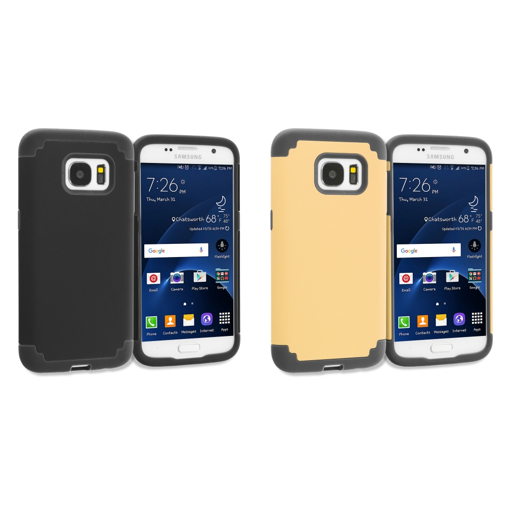 Samsung Galaxy S7 Combo Pack : Black / Black Hybrid Slim Hard Soft Rubber Impact Protector Case Cover