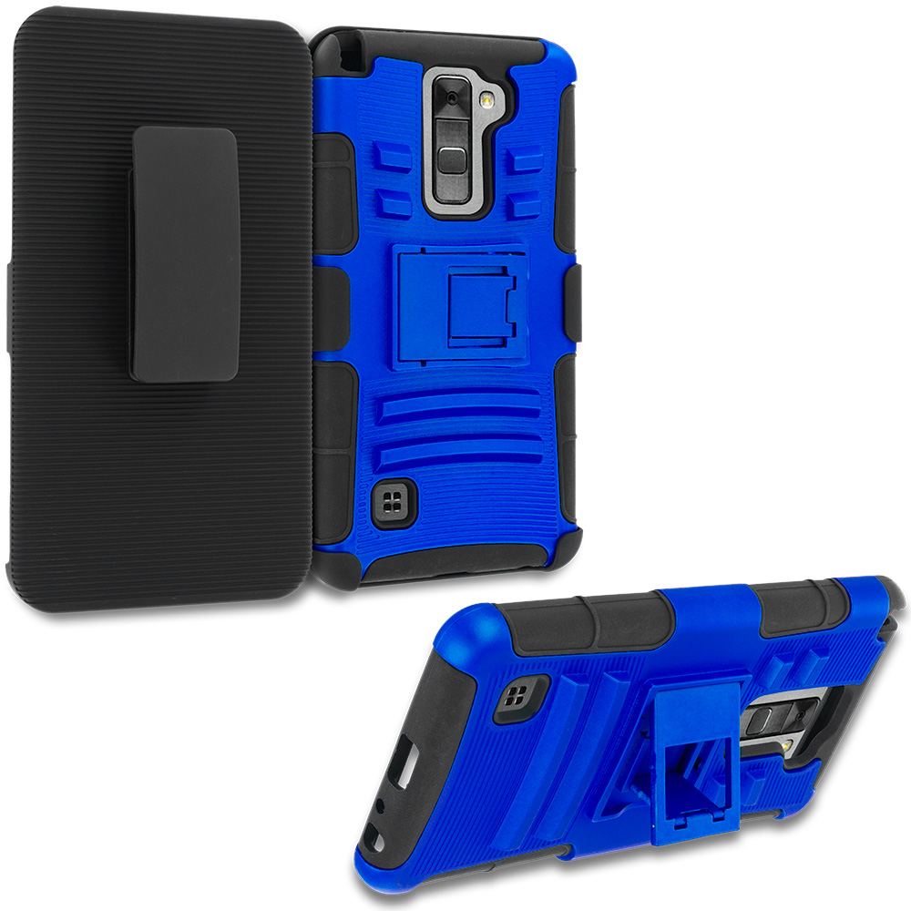 LG G Stylo 2 LS775 Blue Hybrid Heavy Duty Rugged Case Cover with Belt Clip Holster