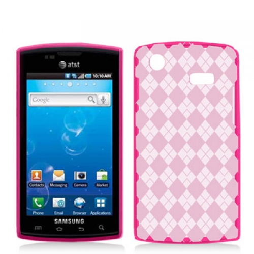 Samsung Captivate i897 Hot Pink Checkered TPU Rubber Skin Case Cover