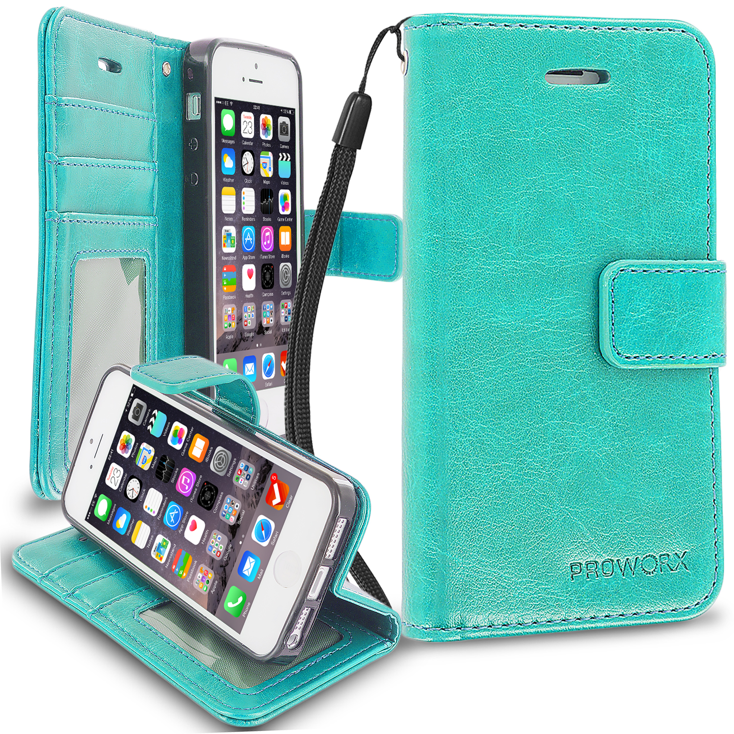 Apple iPhone 5/5S/SE Mint Green ProWorx Wallet Case Luxury PU Leather Case Cover With Card Slots & Stand