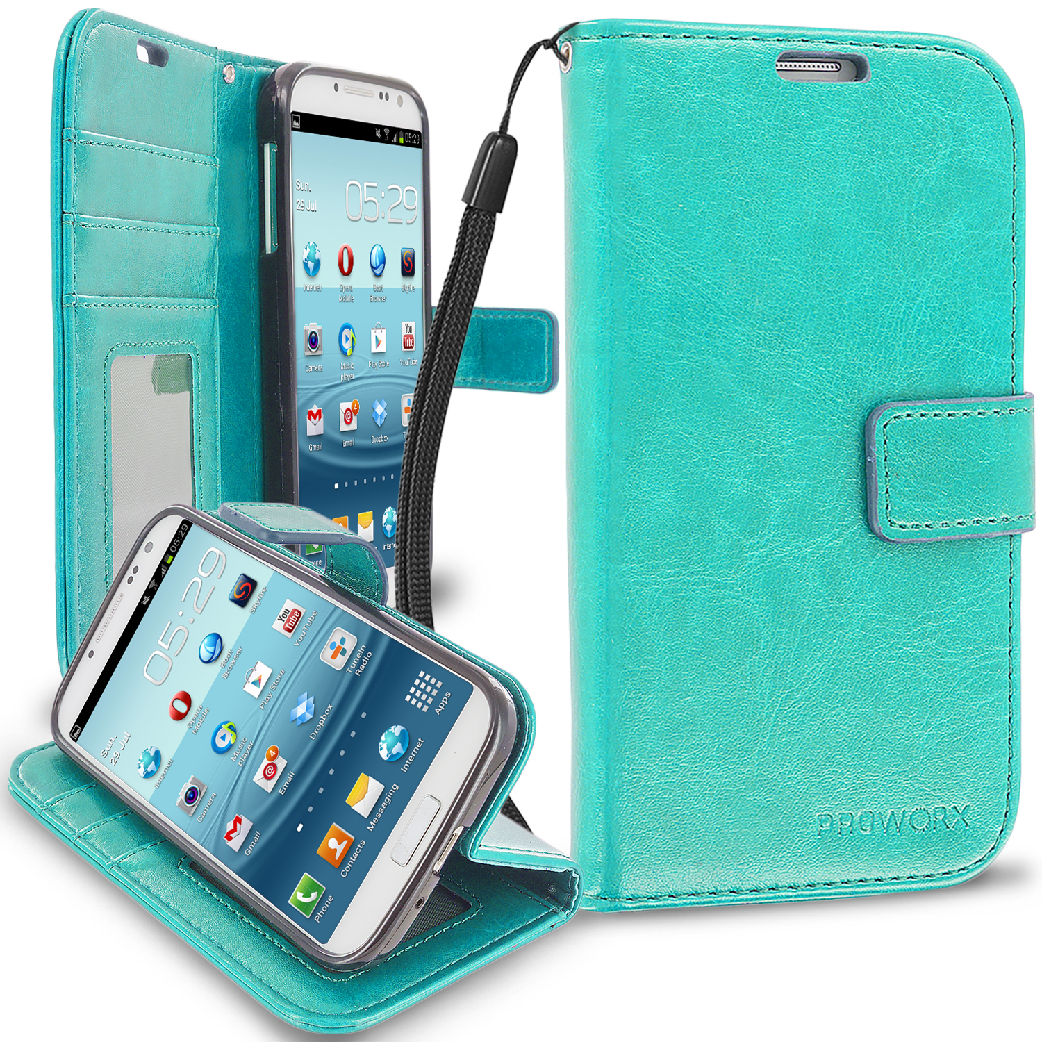 Samsung Galaxy S4 Mint Green ProWorx Wallet Case Luxury PU Leather Case Cover With Card Slots & Stand