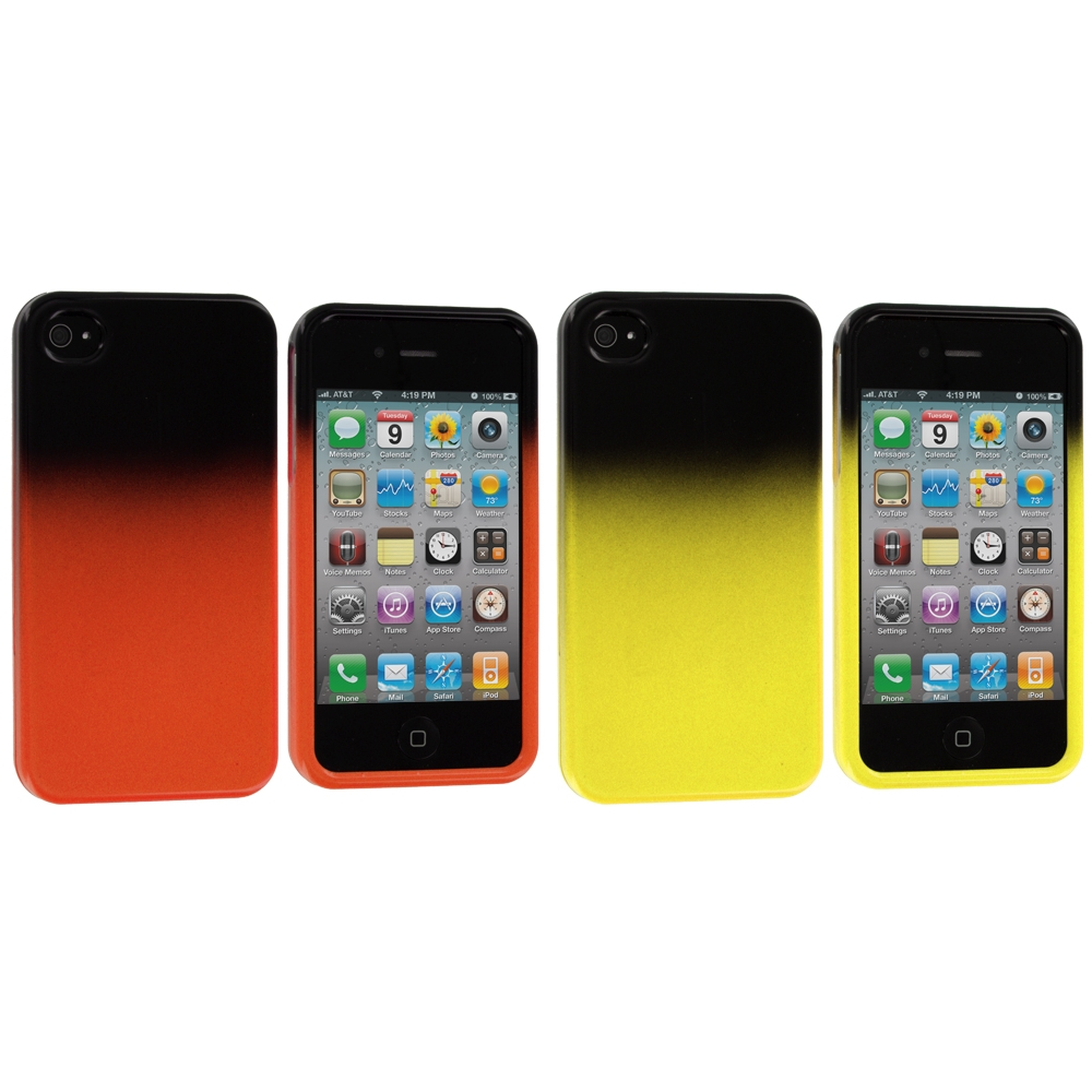 Apple iPhone 4 / 4S 2 in 1 Combo Bundle Pack - Yellow / Orange Two-Tone Hard Case Cover
