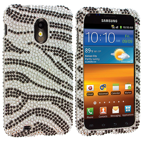 Samsung Epic Touch 4G D710 Sprint Galaxy S2 Silver / Black Zebra Bling Rhinestone Case Cover