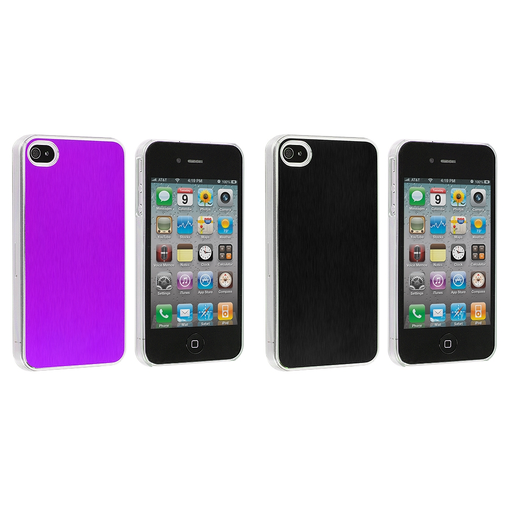 Apple iPhone 4 / 4S 2 in 1 Combo Bundle Pack - Purple Black Aluminium Brushed Aluminum Metal Hard Case Cover