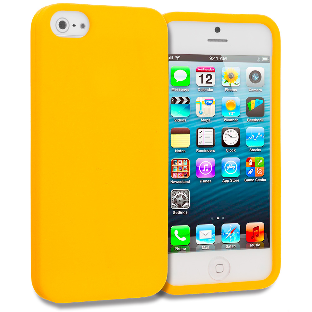Apple iPhone 5 Orange Silicone Soft Skin Case Cover