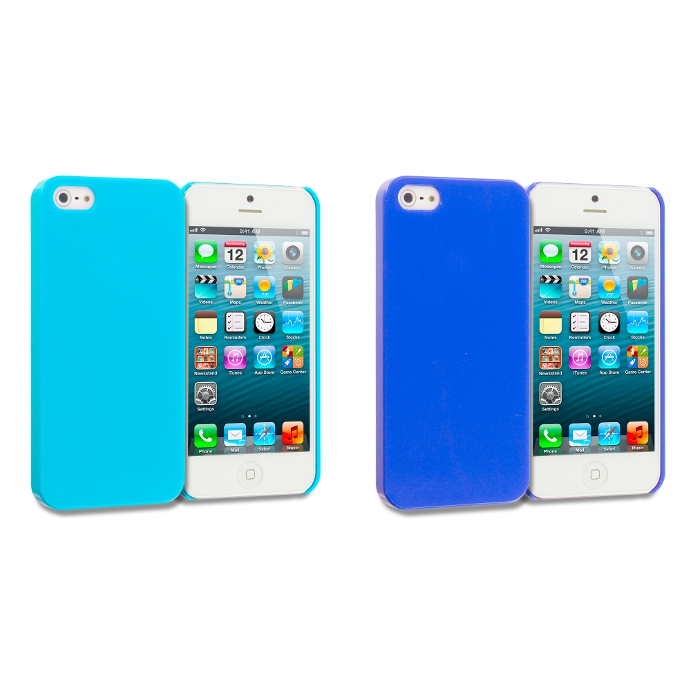 Apple iPhone 5/5S/SE 2 in 1 Combo Bundle Pack - Baby Blue Blue Solid Crystal Hard Back Cover Case