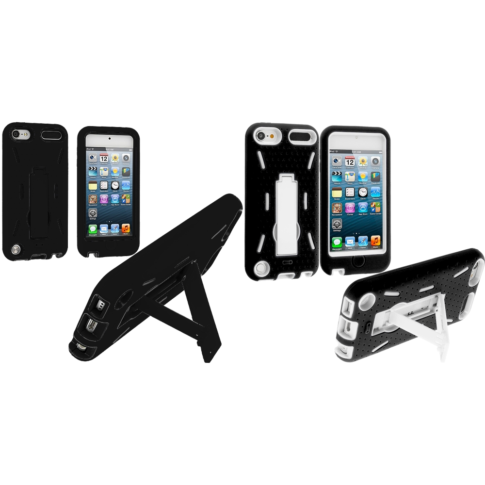 Apple iPod Touch 5th 6th Generation 2 in 1 Combo Bundle Pack - Black / White Hybrid Heavy Duty Hard/Soft Case Cover with Stand