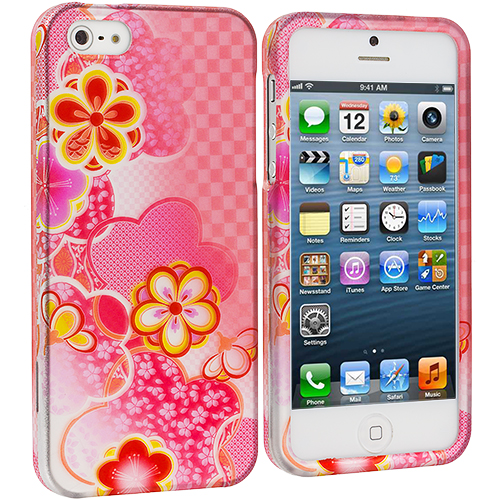 Apple iPhone 5 Combo Pack : Hot Pink Bubbles Hard Rubberized Design Case Cover : Color Pink Fairy Tale