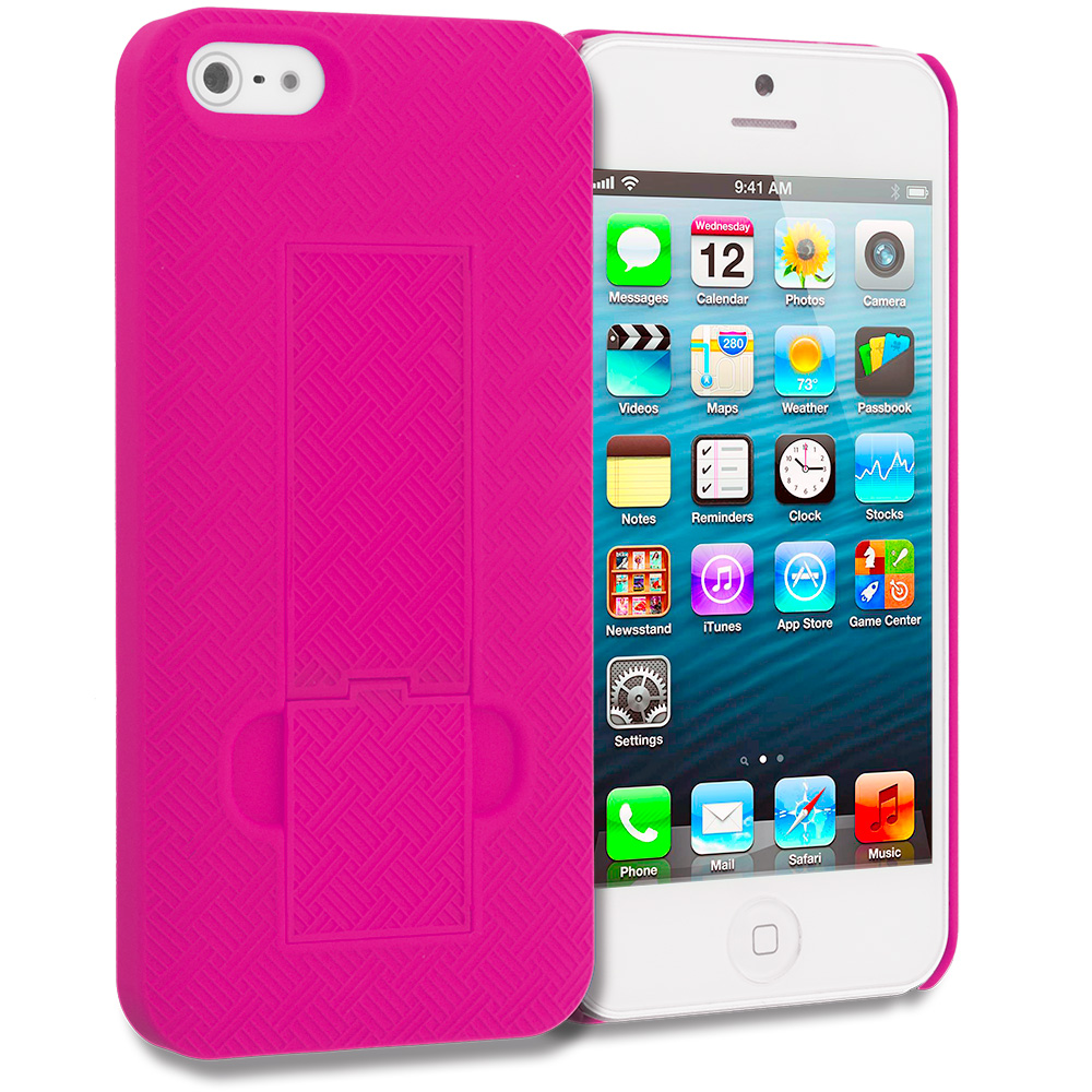 Apple iPhone 5/5S/SE Combo Pack : Hot Pink Grid Texture w/ Stand Hard Rubberized Back Cover Case : Color Hot Pink Grid Texture w/ Stand