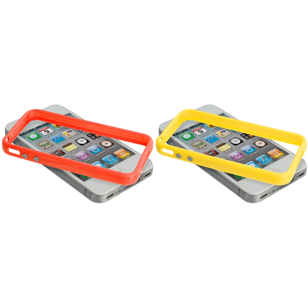 Apple iPhone 4 / 4S 2 in 1 Combo Bundle Pack - Solid Orange Yellow TPU Bumper with Metal Buttons