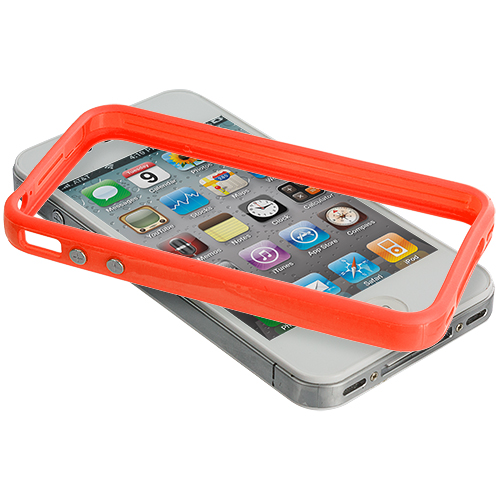 Apple iPhone 4 / 4S 2 in 1 Combo Bundle Pack - Solid Orange Yellow TPU Bumper with Metal Buttons : Color Solid Orange