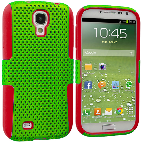 Samsung Galaxy S4 Red / Neon Green Hybrid Mesh Hard/Soft Case Cover